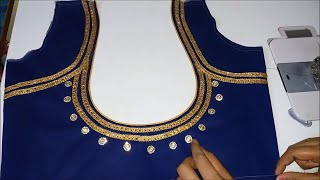 very beautiful neck design stitching with lace
