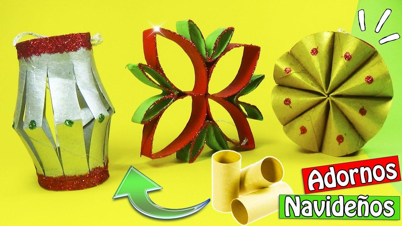 Adornos navide os con tubos de cart n 3 ideas reciclaje - Adornos navidenos papel ...