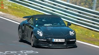 2020 porsche 992 turbo s convertible spied testing at the nrburgring