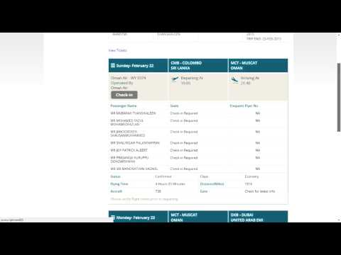 Oman Air Flight Booking Confirmation