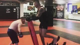 UFC Diego Nightmare Sanchez training while wearing Gym Titan
