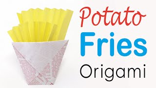 Easy☺︎ French Fries Potatoes Origami Paper - Origami Kawaii 〔#113〕