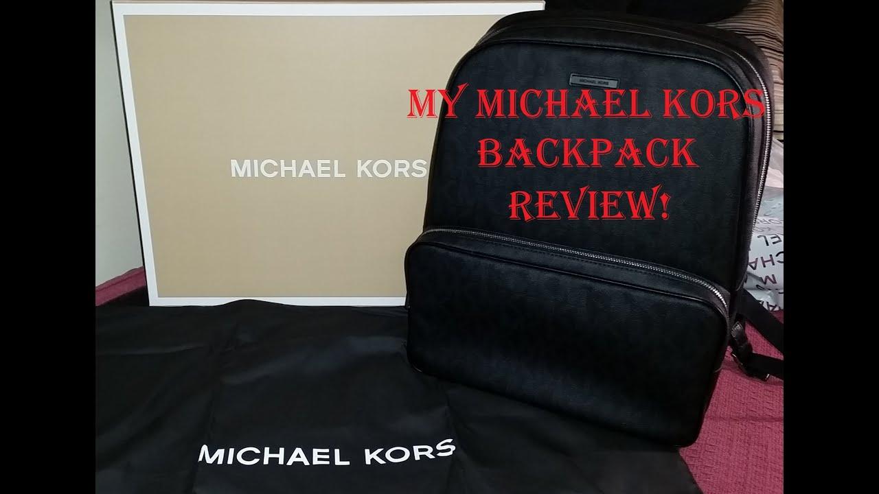 91153c8fa0ff Michael Kors Jet Set Logo Backpack (Black) Unboxing - YouTube