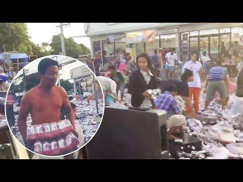 Dickerman - Locals Help After Truck Spills 80,000 Cans Of Beer