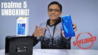 Realme 5 Unboxing - QUAD CAMERA + SD665 at Rs 9,999 + Giveaway  🔥🔥🔥