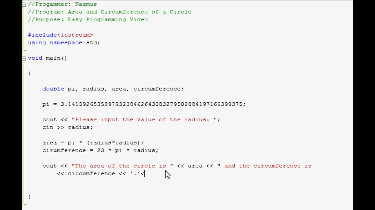 Easy Programming  C++  Area & Circumference Of A Circle (6)