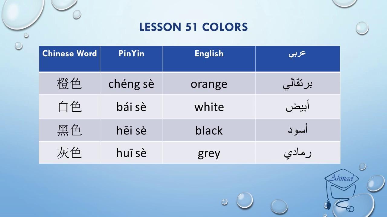 تعلم اللغة الصينية الألوان Learn Chinese Colors Youtube