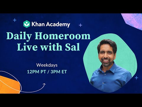 Daily Homeroom Live with Sal: Wednesday, April 15