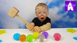 Funny Alex Play and Learns Colors with Giant Colorful ORBEEZ and then Crush them