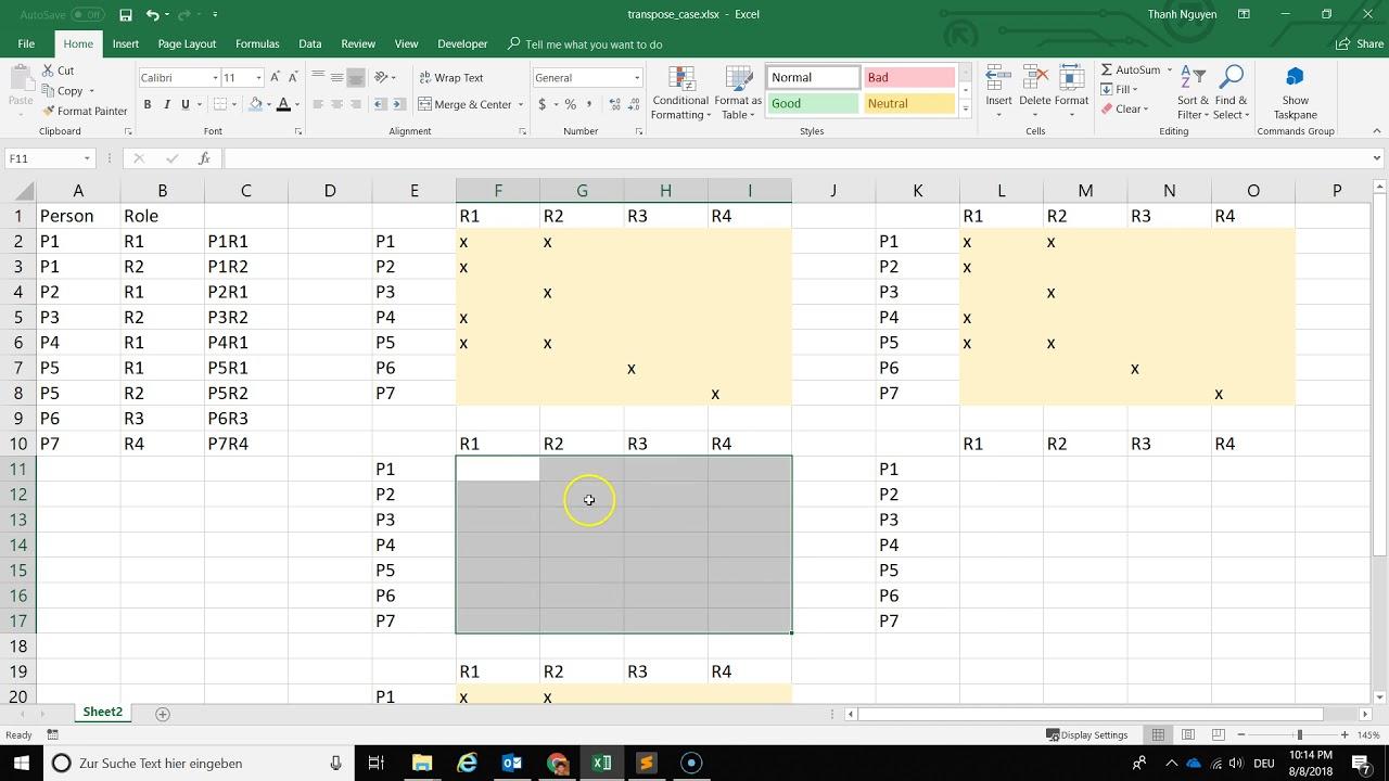 Cách chuyển dữ liệu dạng cột sang dữ liệu dạng ma trận trong Excel