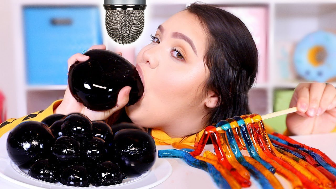i Tried ASMR.. Eating Black Jelly Grapes, Slime + More! (sticky crunchy sounds)