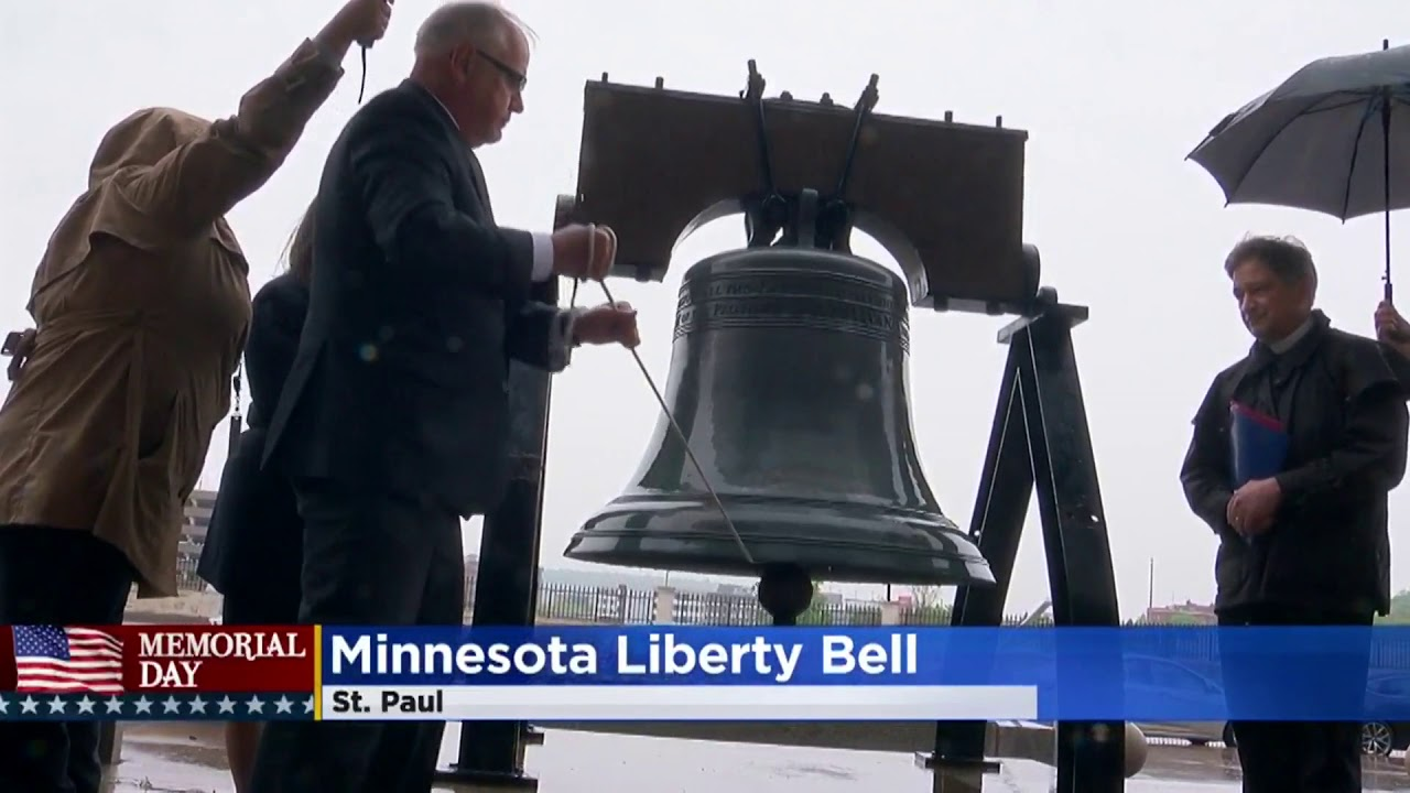 Govenor Walz Rings Minnesotas liberty bell for the first time, Memorial Day 2019