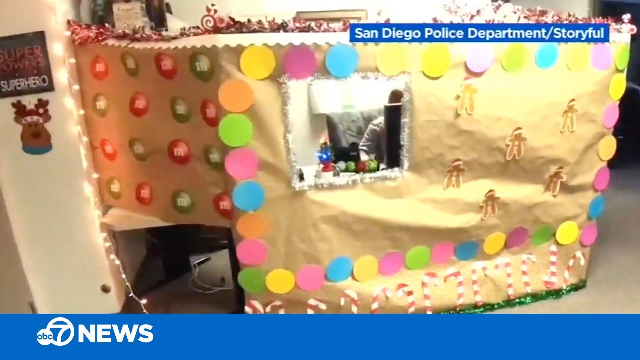 Woman constructs life-sized gingerbread house around her cubicle