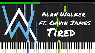 Alan Walker ft. Gavin James - Tired Piano Tutorial