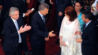 El incómodo saludo entre Cristina y Macri en la asunción de Alberto Fernández