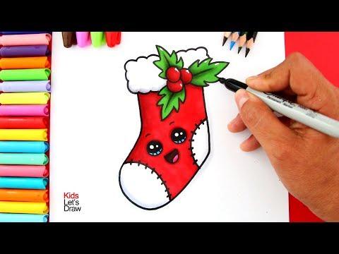 Aprende a dibujar y pintar un CALCETÍN DE NAVIDAD Kawaii (Bota Navideña)