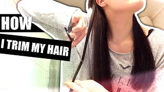 HOW I TRIM AND THIN OUT MY THICK HAIR