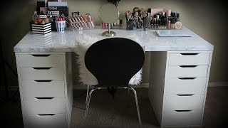 my makeup collection new marble vanity