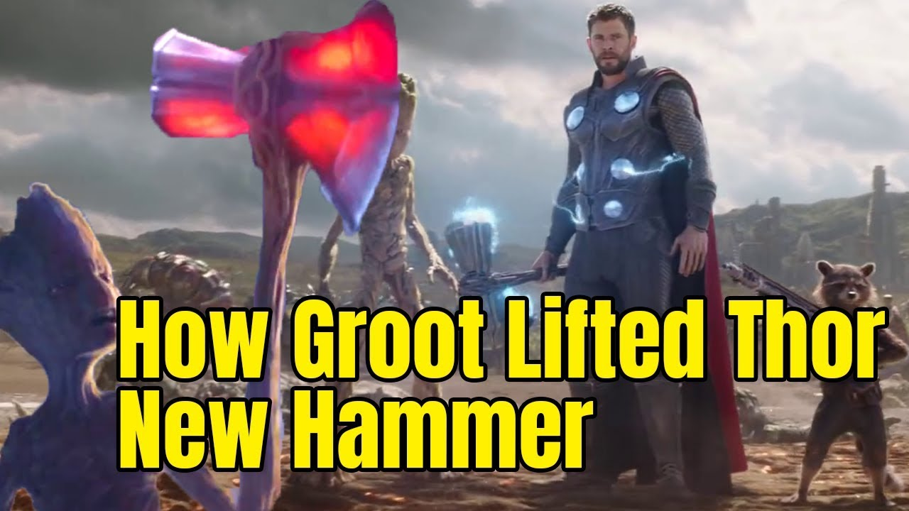 d46fc181299 How Groot Lifted THOR new hammer Strombreaker - Avengers Infinity ...
