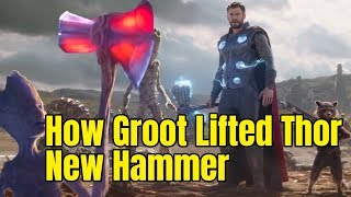 How Groot Lifted THOR new hammer Strombreaker - Avengers Infinity War