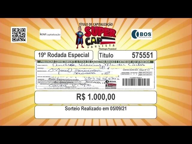 Sorteio Supercap Paulista - 05 de Setembro de 2021