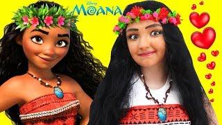 DISNEY MOANA MAKEUP ❤ Tutorial Disney Princess Movie Costume kids Makeup and Hair Toys