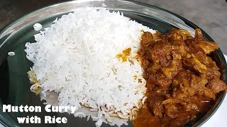 mutton curry eating with basmati rice spicy food