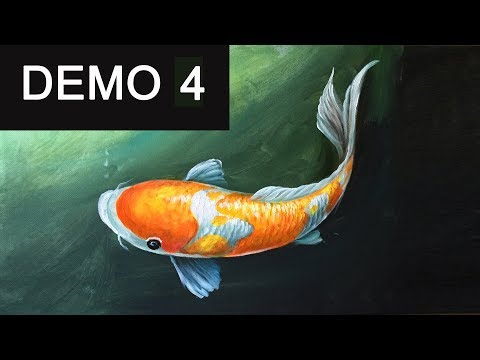 Paint koi fish with Acrylic on canvas -Demo 4