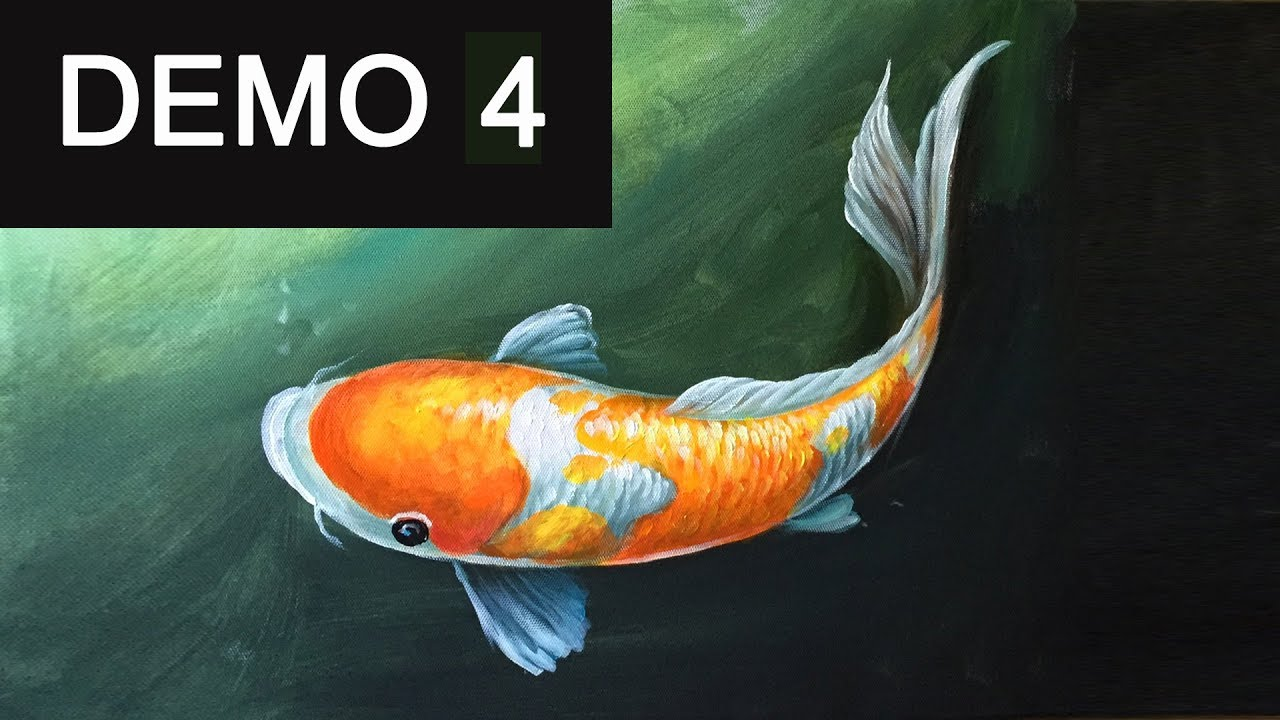 Paint koi fish with acrylic on canvas demo 4 youtube for How to paint a fish