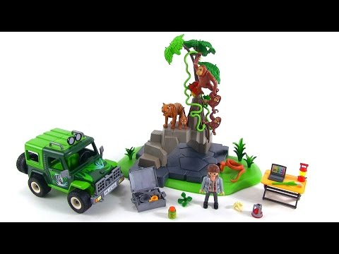 playmobil wild life jungle animals w researcher off road vehicle review set 5416 youtube. Black Bedroom Furniture Sets. Home Design Ideas