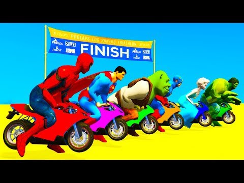 Thumbnail: COLOR for kids Motorcycles McQueen w Spiderman Cartoon - Superheroes for Children Toddlers