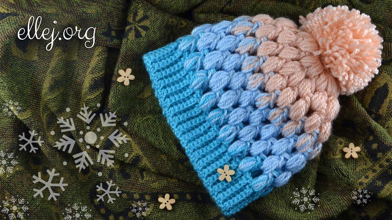 How To Crochet Scarlet Sky Baby Puff Stitch Hat Free