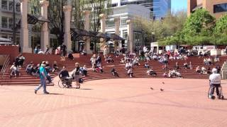 Downtown Portland - on a sunny day. Pioneeer Square.