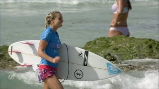 Bronte Macaulay Reacts to Taking Down Sally Fitzgibbons at Roxy Pro