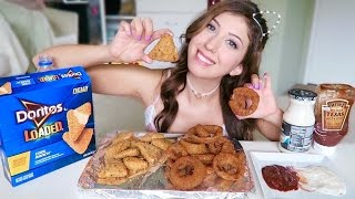 COOL RANCH CHEESY LOADED DORITOS  + ONION RINGS! Mukbang Eating Show