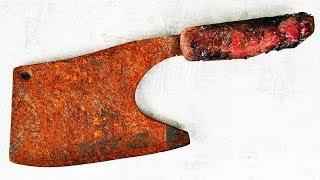 Old Rusty Cleaver Butcher Restoration