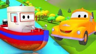 Odtahový vůz Tom a člun   Animák z prostředí staveniště s auty a nákladními vozy (pro děti)