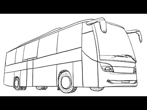 How to Draw a Bus Step by Step Easy For Kids | Coloring Book Page and Drawing Learn Colors