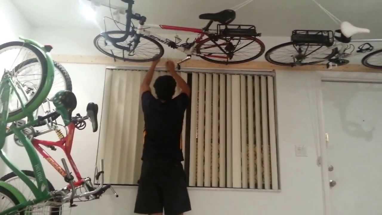 wall ceiling bike rack under $50 - YouTube