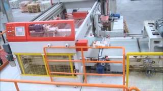 Automatic valve bag filling, palletizing and hooding