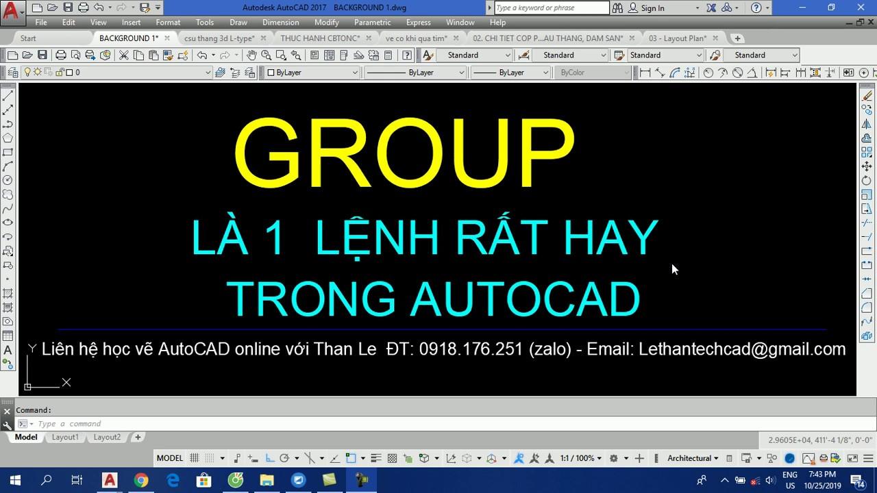 Hướng dẫn lệnh GROUP để quản lý bản vẽ AutoCAD - How to use Group to manage AutoCAD drawing