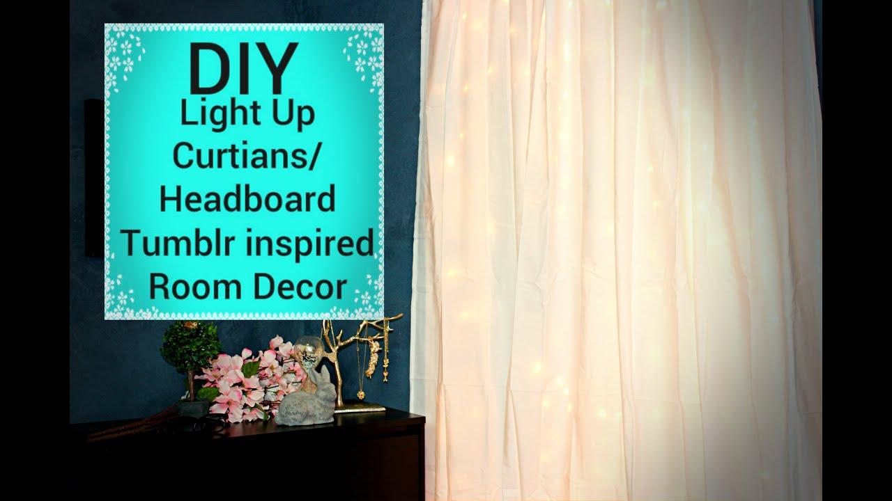 DIY Light up CurtainsHeadboard  Affordable Tumblr