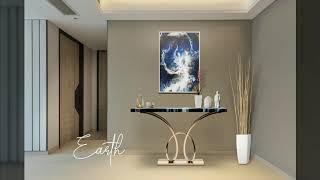어스(Earth) - 레진+스테인레스 프레임 콘솔 장식…
