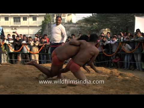 Spirited young wrestlers  take part in Kushti competition, Delhi
