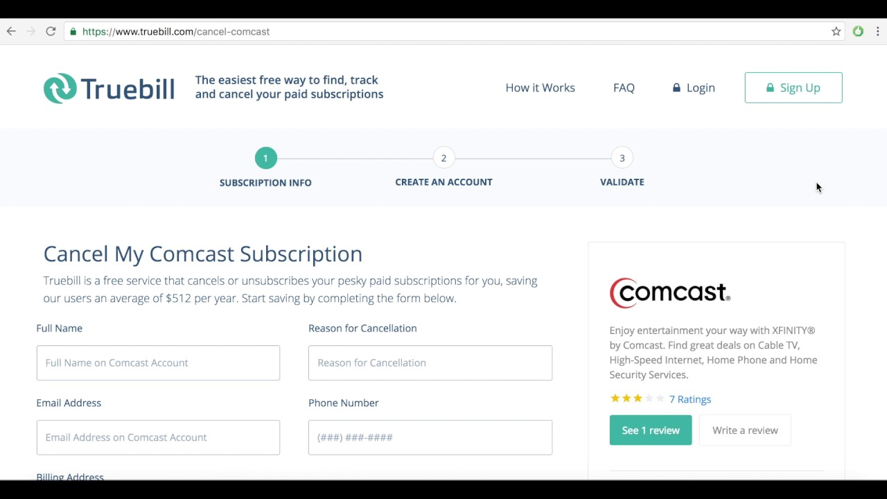 Cancel Comcast Xfinity Truebill