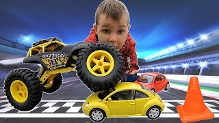 Timko and Papa Pretend Play with Cars | The Great Race: Monster Truck vs Super Mario Kart