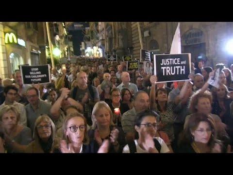 Maltalı aktivistler geçen yıl öldürülen gazeteci Daphne Caruana Galizia'yı andı