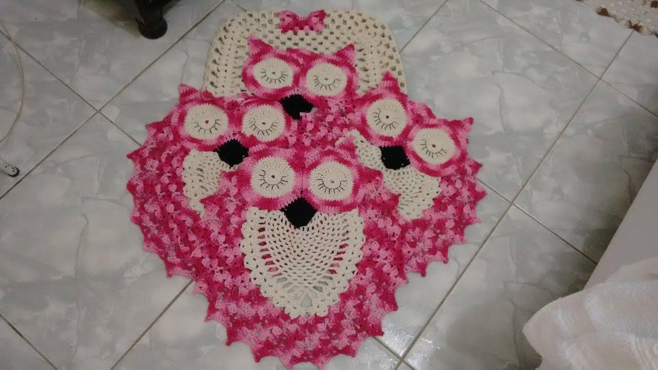 Jogo de Banheiro e Tapete Tipo Coruja Dorminhoca Branco e Rosa  #8D2040 3264x1836 Balança De Banheiro Rosa