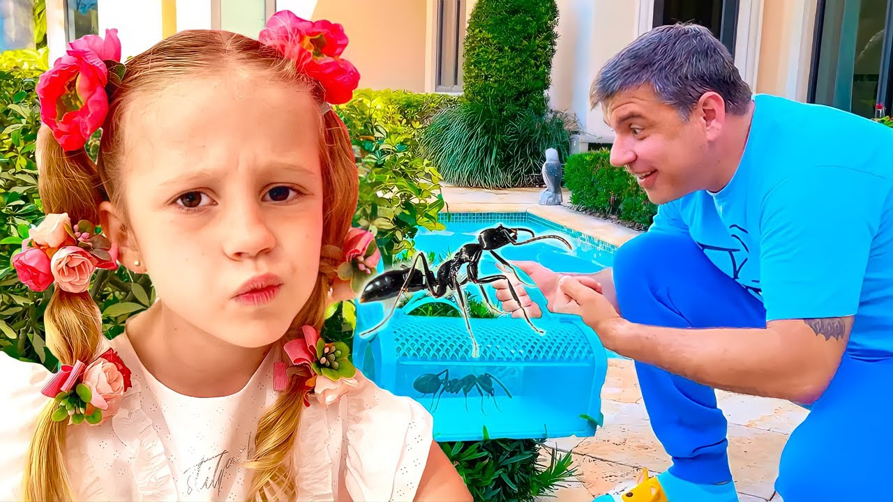 Nastya aprende sobre insetos com seu pai