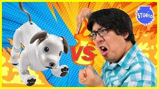 ROBO DOG AIBO VS. RYAN\'S DADDY ! Who is the Better Robot Dog ?
